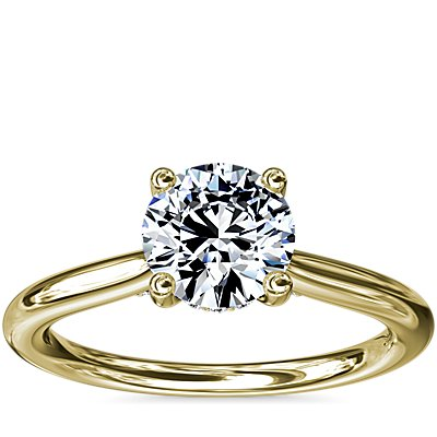 NEW Petite Hidden Halo Solitaire Plus Diamond Engagement Ring in 14k Yellow Gold (1/10 ct. tw.)