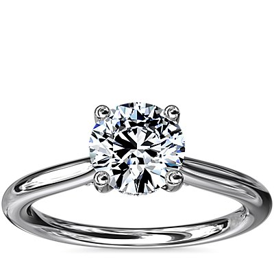 NEW Petite Hidden Halo Solitaire Plus Diamond Engagement Ring in 18k White Gold (1/10 ct. tw.)