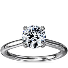 Petite Hidden Halo Solitaire Plus Diamond Engagement Ring in Platinum