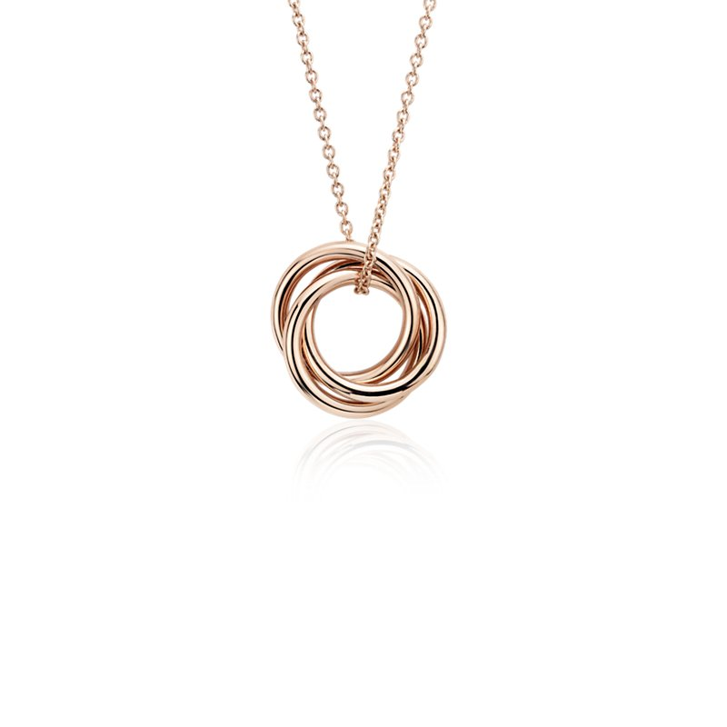 Petite Infinity Rings Pendant in 14k Rose Gold
