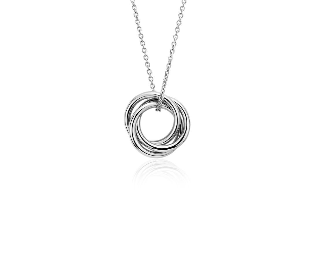 Petite Infinity Rings Pendant in 14k White Gold