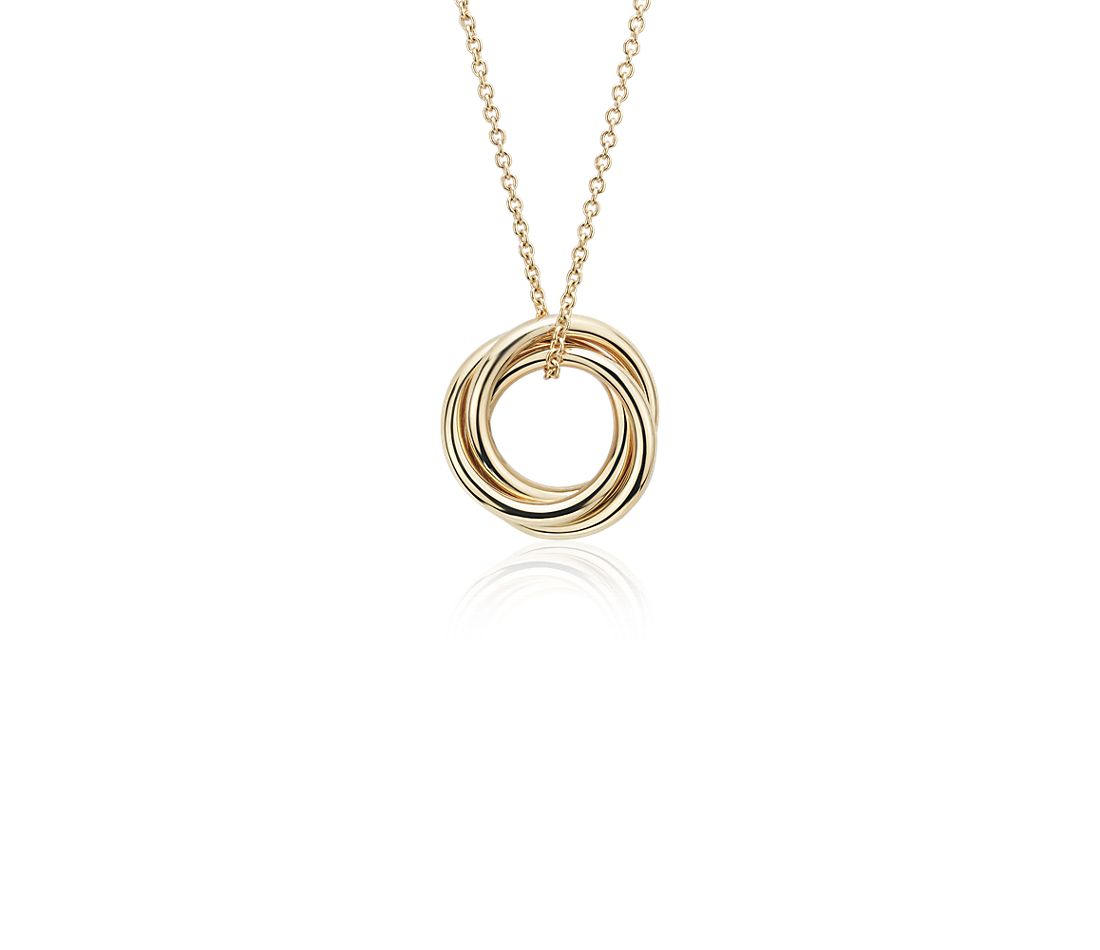 Petite Infinity Rings Pendant in 14k Yellow Gold