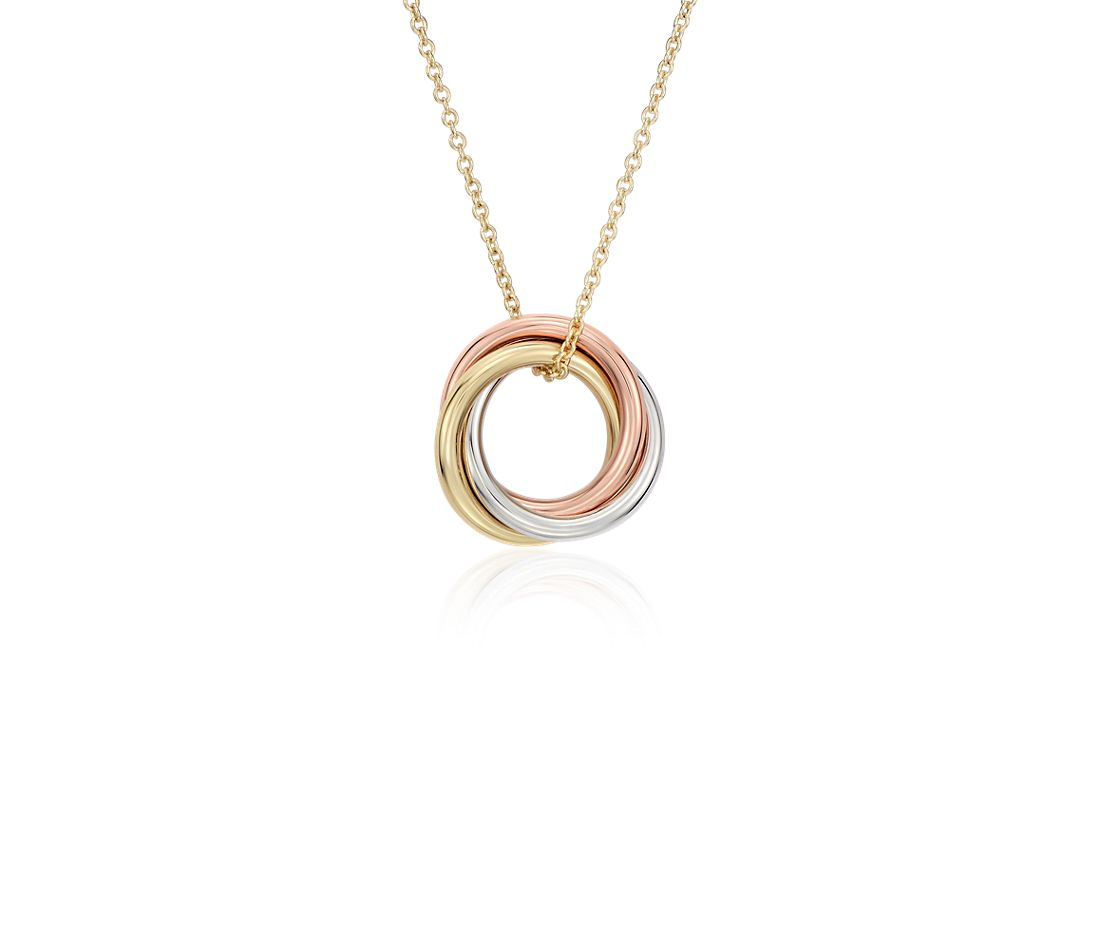 Petite Infinity Rings Pendant In 14k Tri Color Gold Blue