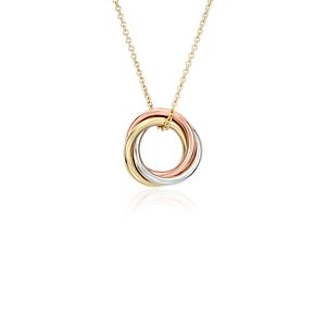 Petite Infinity Rings Pendant in 14k Tri-Color Gold
