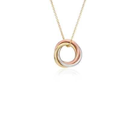 Petite Infinity Rings Pendant in 14k Tri-Colour Gold