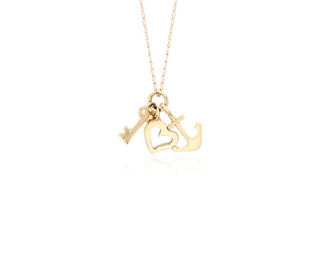 Petite Key, Heart and Anchor Charm Necklace in 14k Yellow Gold