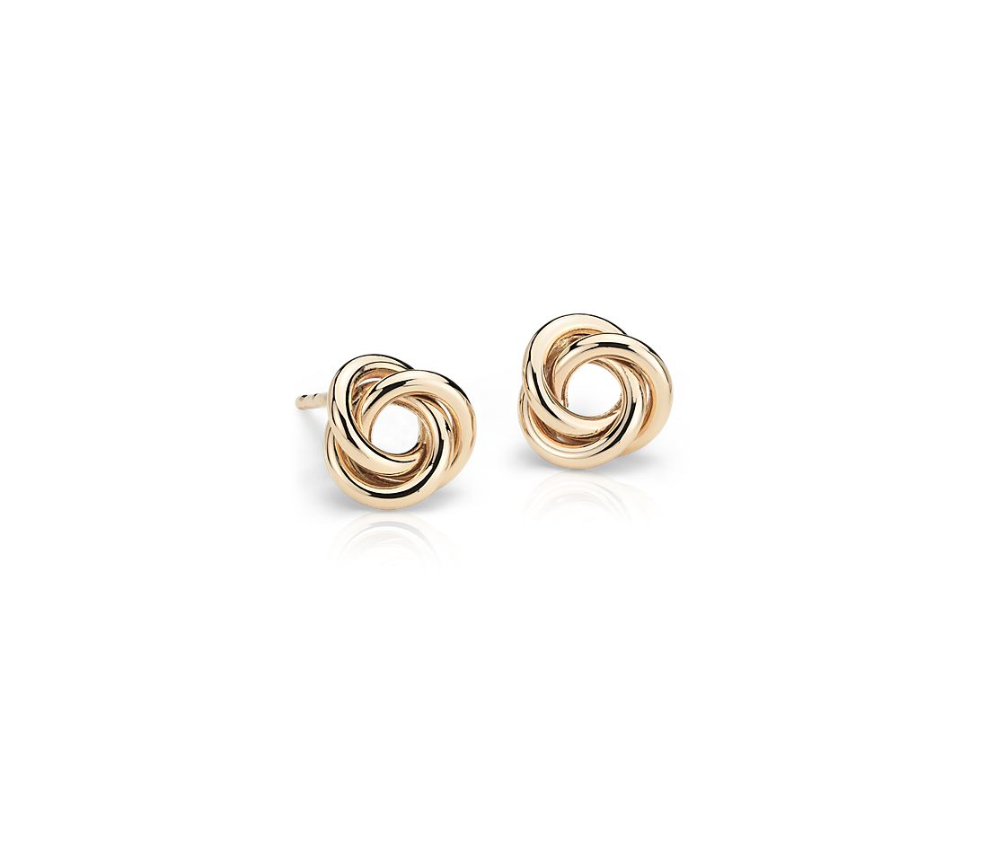 Petite Love Knot Earrings in 14k Yellow Gold