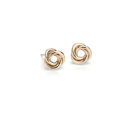 Blue Nile Petite Love Knot Earrings in 14k Tri-Color Gold