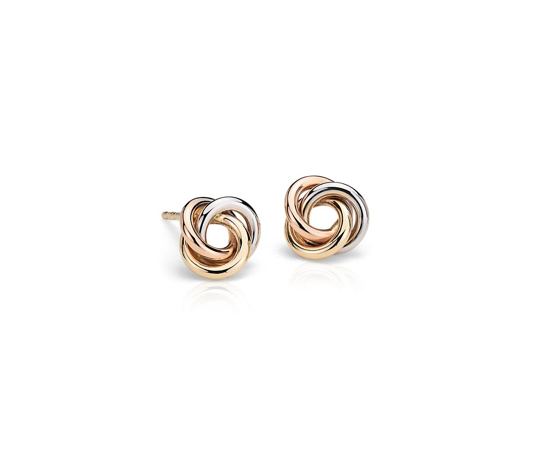 Pee Love Knot Earrings In 14k Tri Color Gold
