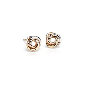 Petite Love Knot Earrings in 14k Tri-Color Gold