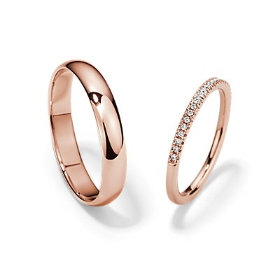 Petite Micropavé and Classic Wedding Ring Set in 14k Rose Gold