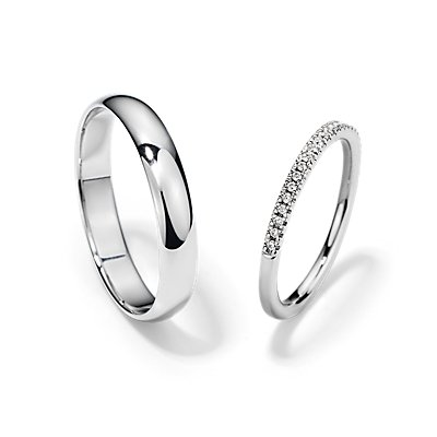 Petite Micropavé and Classic Wedding Ring Set in 14k White Gold