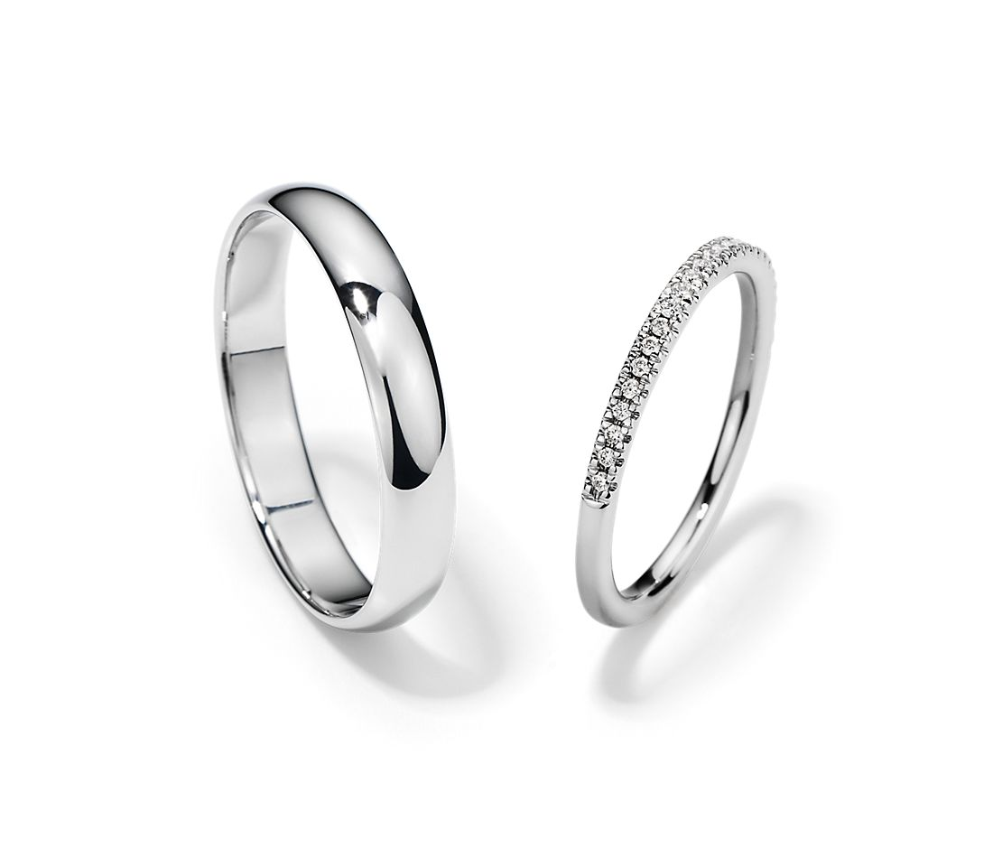 It is just a picture of Petite Micropavé and Classic Wedding Ring Set in Platinum Blue Nile