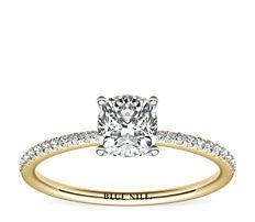 14k 金小巧微密钉钻石订婚戒指<br>(1/10 克拉总重量)