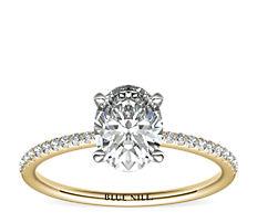 Bague de fiançailles en diamants sertis micro-pavé de petite taille en or jaune 14carats (0,09carat, poids total)