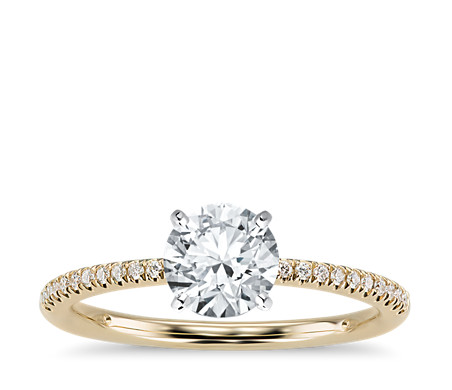 Petite Micropavé Diamond Engagement Ring in 14k Yellow Gold (1/10 ct. tw.)