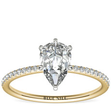 Petite Micropavé Diamond Engagement Ring in 14k Yellow Gold (0.09 ct. tw.)