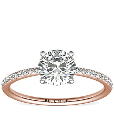 Petite Micropavé Diamond Engagement Ring in 14k Rose Gold