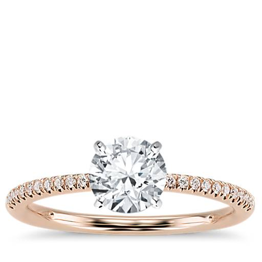 Petite Micropave Diamond Engagement Ring In 14k Rose Gold 1 10 Ct Tw