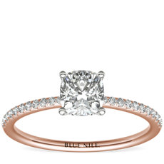 Petite Micropavé Diamond Engagement Ring in 14k Rose Gold (1/10 ct. tw.)