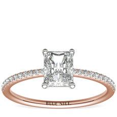 14k 玫瑰金小巧微密钉钻石订婚戒指<br>(1/10 克拉总重量)