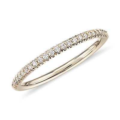 Petite Micropavé Diamond Ring in 14k Yellow Gold (1/10 ct. tw.)