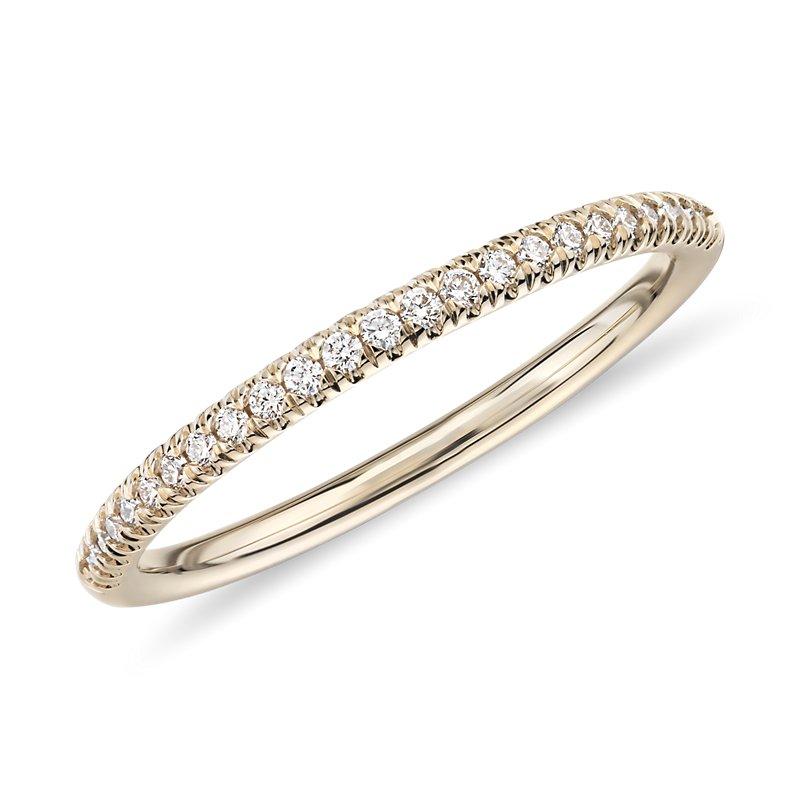 Petite Micropavé Diamond Ring in 14k Yellow Gold (1/10 ct. tw.)