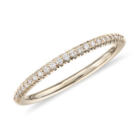 NEW Petite Micropavé Diamond Ring in 14k Yellow Gold (1/10 ct. tw.)