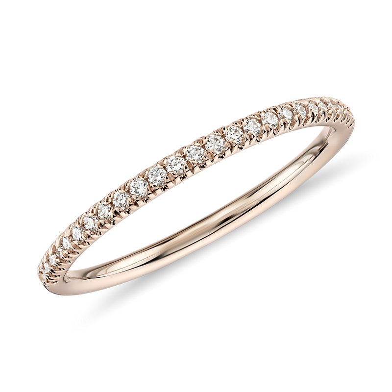 Petite Micropavé Diamond Ring in 14k Rose Gold (1/10 ct. t