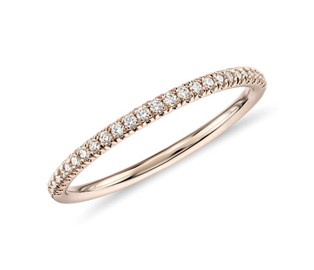 Petite Micropavé Diamond Ring in 14k Rose Gold (1/10 ct. tw.)