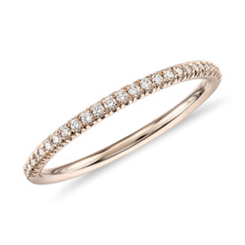 NEW Petite Micropavé Diamond Ring in 14k Rose Gold (1/10 ct. tw.)