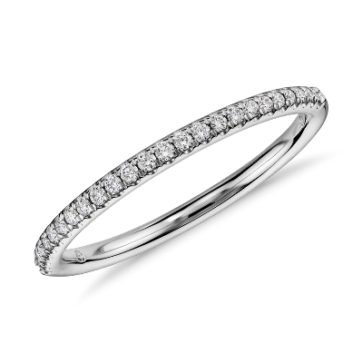 Petite Micropav Diamond Ring in 14k White Gold 110 ct tw