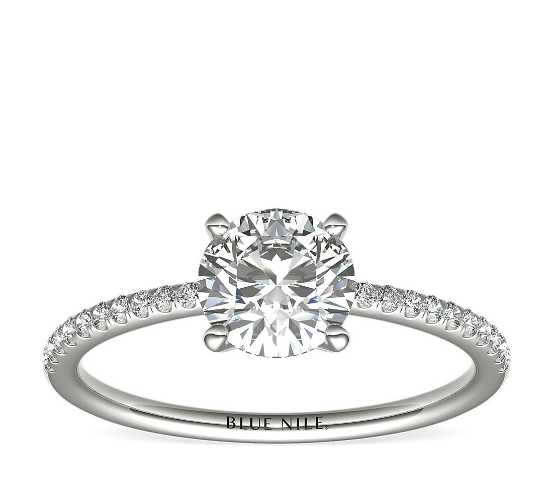 Petite Micropavé Diamond Engagement Ring In 14k White Gold