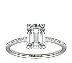 Bague de fiançailles en diamants sertis micro-pavé de petite taille en or blanc 14carats (0,09carat, poids total)