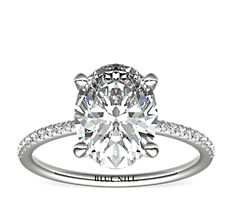 Petite Micropavé Diamond Engagement Ring in 14k White Gold (0.09 ct. tw.)