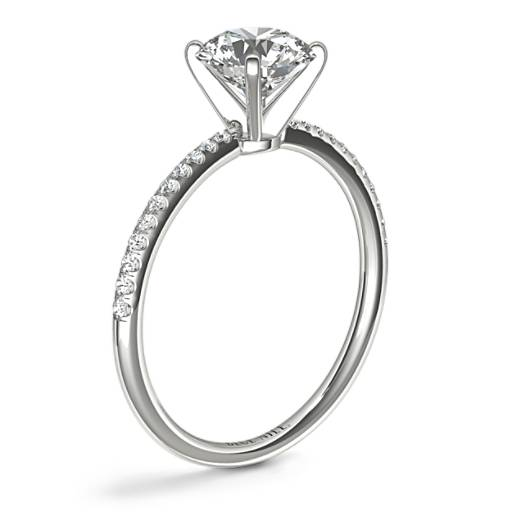 Petite Micropavé Diamond Engagement Ring