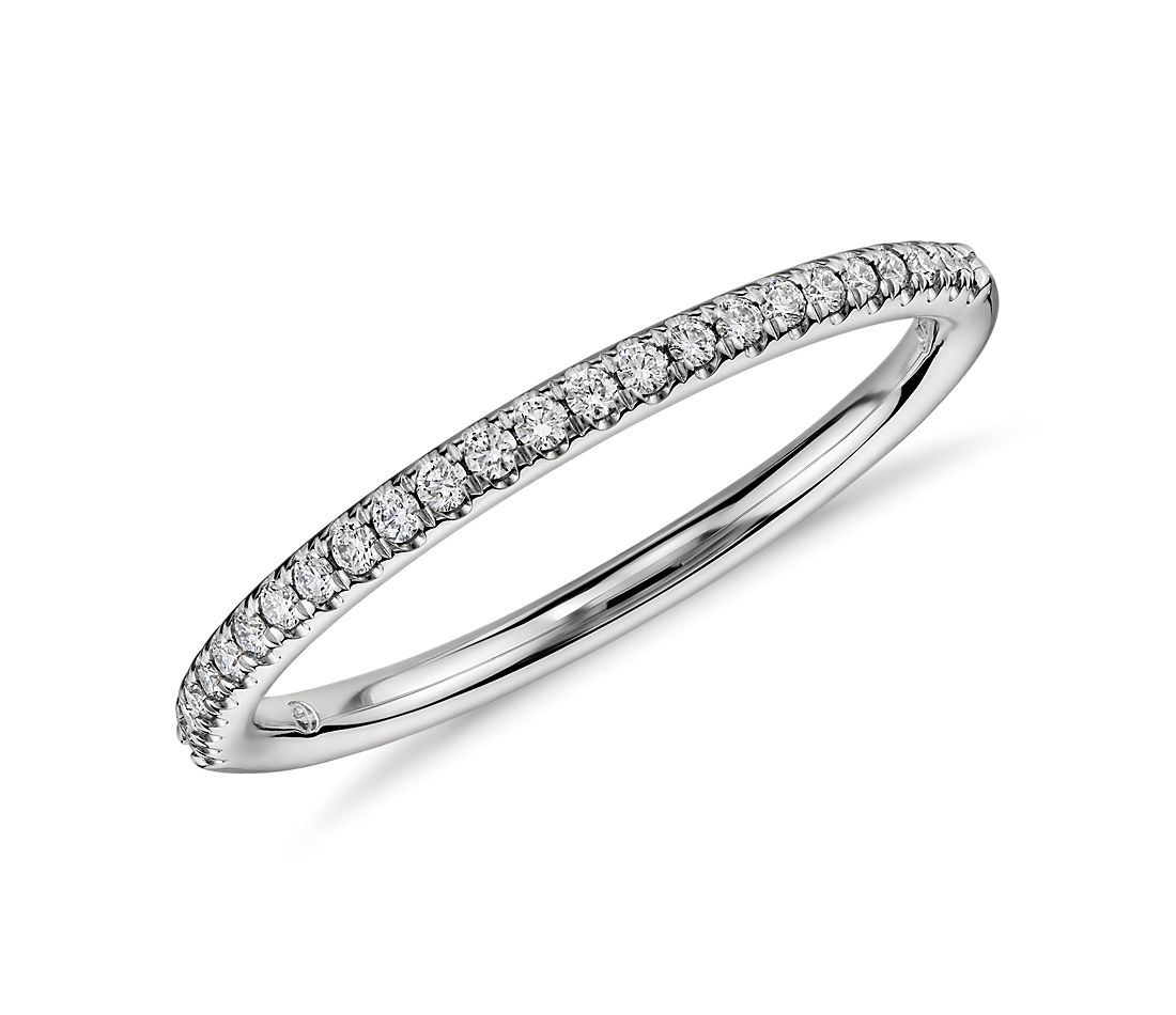 Petite Micropavé Diamond Ring in Platinum