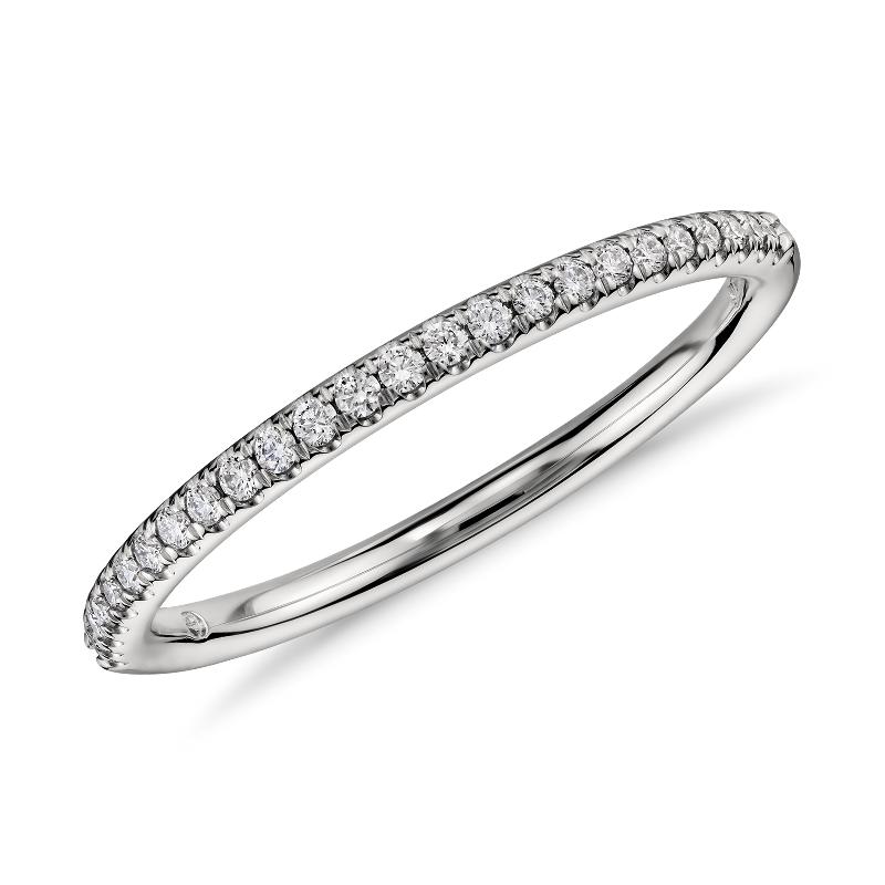 Petite Micropavé Diamond Ring in Platinum (1/10 ct. tw.)