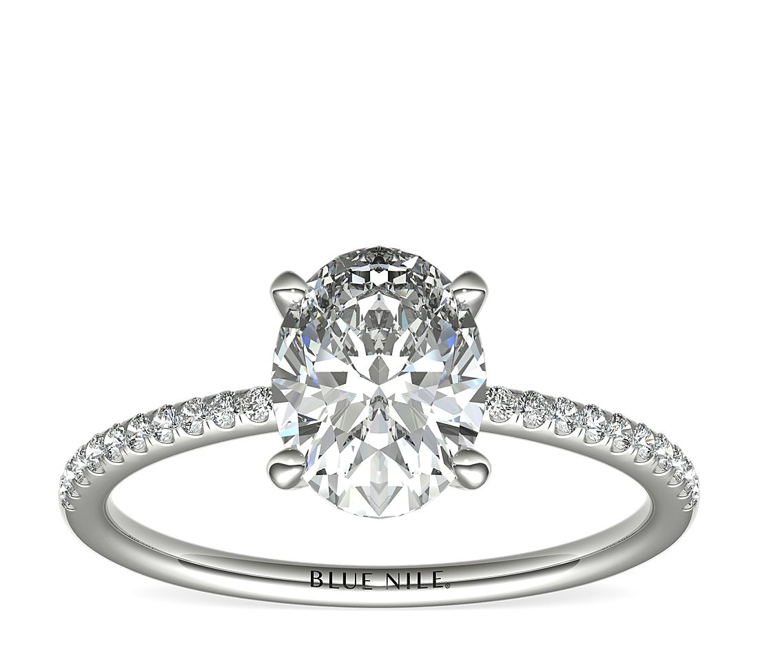 1.5ct.OV in *Delicate* Petite Micropave Diamond Engagement Ring in Platinum