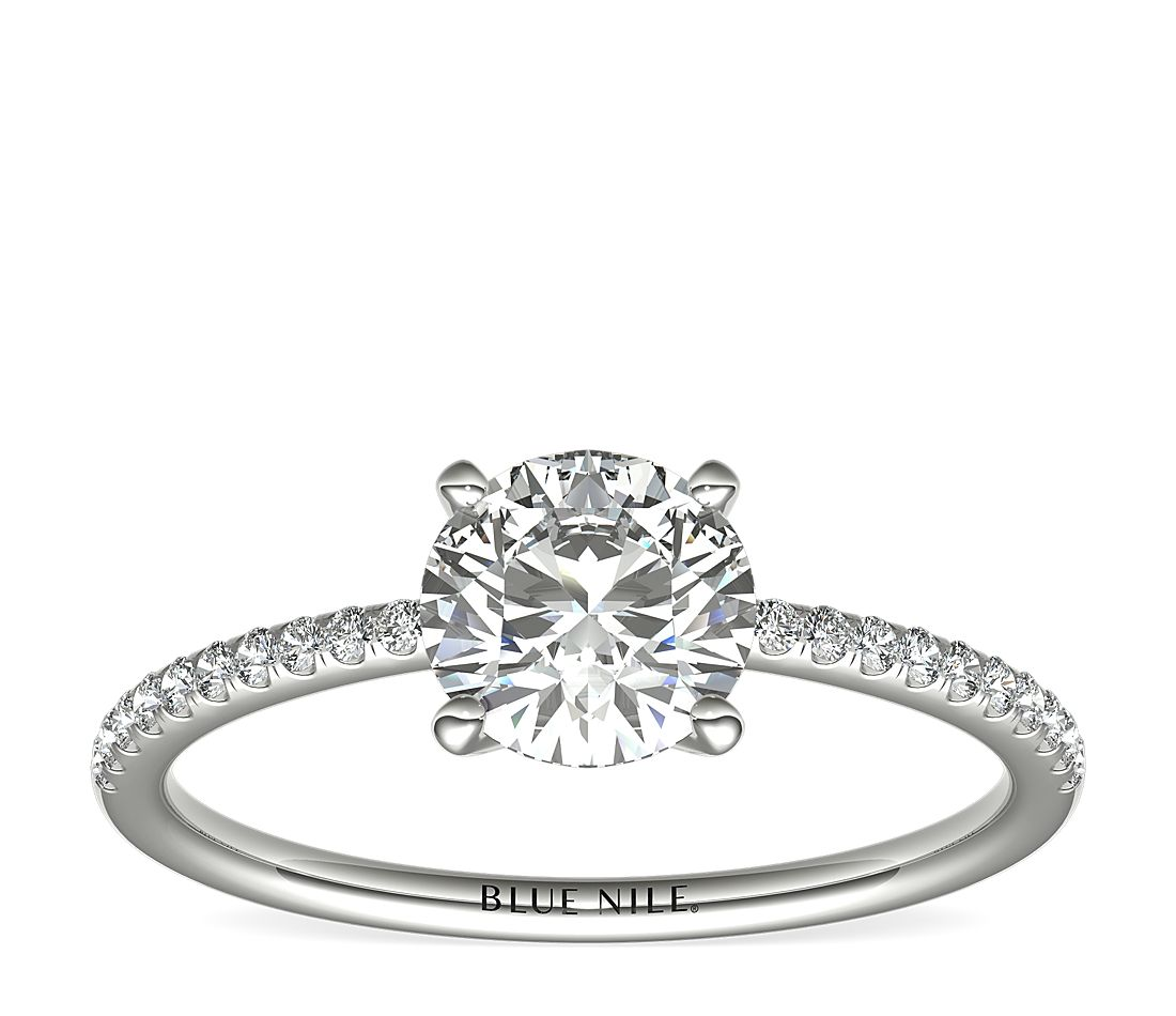 31837978f Petite Micropavé Diamond Engagement Ring in Platinum (1/10 ct. tw ...