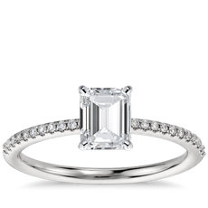 has matching band - Emerald Cut Wedding Rings