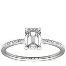 Petite Micropavé Diamond Engagement Ring in Platinum