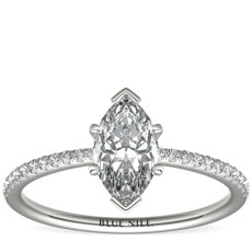 Petite Micropavé Diamond Engagement Ring in Platinum (0.09 ct. tw.)