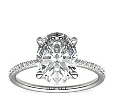 Petite Micropavé Diamond Engagement Ring in Platinum (0.09 ct. tw.)