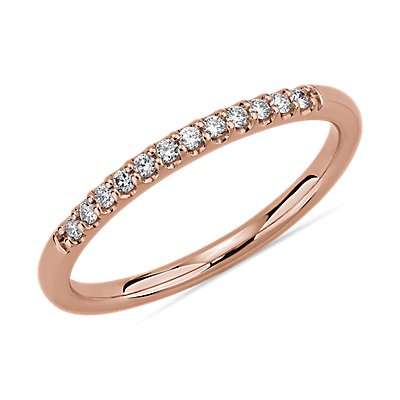 Petite Micropave Diamond Wedding Ring in 14k Rose Gold (1/10 ct. tw.)
