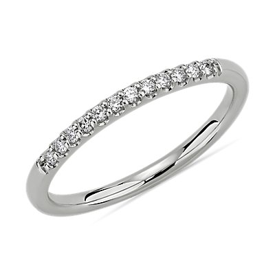 NEW Petite Micropave Diamond Wedding Ring in 14k White Gold (1/10 ct. tw.)