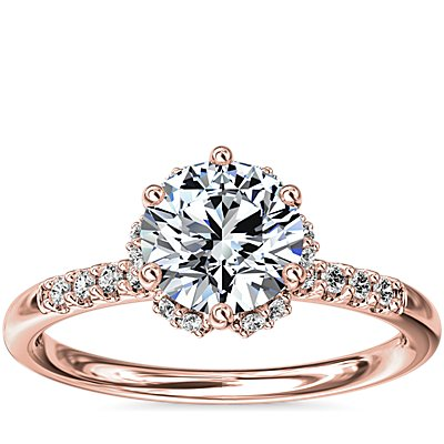 NEW Petite Micropavé and Hidden Diamond Halo Engagement Ring in 14k Rose Gold (1/8 ct. tw.)