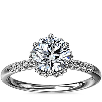 NEW Petite Micropavé and Hidden Diamond Halo Engagement Ring in 14k White Gold (1/8 ct. tw.)