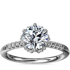 Petite Micropavé and Hidden Diamond Halo Engagement Ring in 14k White Gold (1/8 ct. tw.)