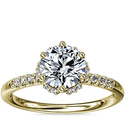 NEW Petite Micropavé and Hidden Diamond Halo Engagement Ring in 14k Yellow Gold (1/8 ct. tw.)
